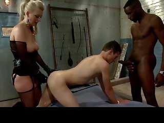 bisexual, anal, femdom, interracial, lingerie, strapon