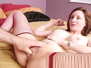 cougar, big tits, fingering, milf, stockings, straight