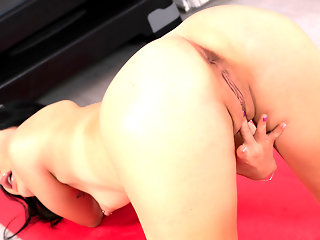 high heels, brunette, masturbation, skinny, small tits, solo female