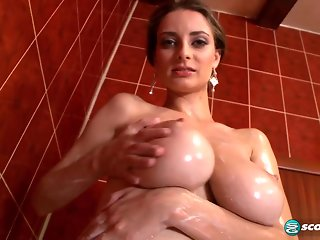 brunette, big tits, milf, shower, solo female,