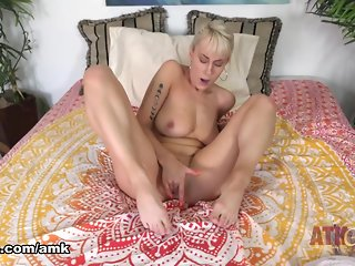 blonde, big tits, masturbation, milf, solo female,