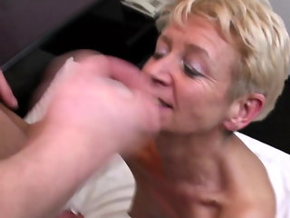 mature, blowjob, stockings, milf, old & young, granny
